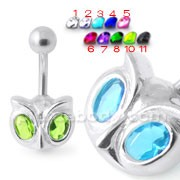 Big Eye Jeweled Silver Navel Bar