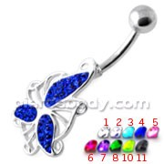 Multi Jeweled Flying Butterfly Navel Banana