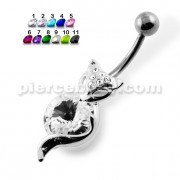 Jeweld Cat Head with Big Gem Navel Belly Piercing