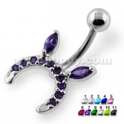 Jeweled Horseshoe Navel Belly Piercing