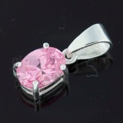 925 Sterling Silver Jeweled Fancy Single Stone Pendant
