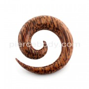 Organic Palm Wood Spiral Ear Expander Gauges