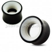 Organic Hollow Black And White Ear Plug Gauges