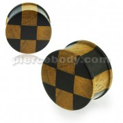 Organic Iron and Teak Wood Checker Ear Plug Gauges