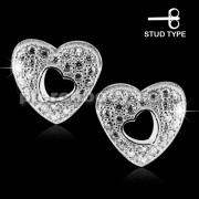 925 Sterling Silver Micro pave CZ Heart Stud Earrings