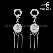 925 Sterling Silver Circle with Round Cubic Zirconia Ear Ring Stud