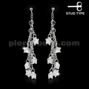 925 Sterling Silver Multi Star Cubic Zirconia Ear Stud
