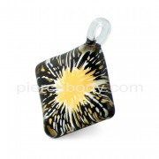Paint Splatter Angled Square Glass Pendant