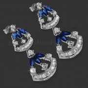 Dark Blue Fancy Hanging Micro Setting Stone Ear Stud