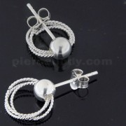 5 mm Plain Silver Ball with 3 Twisted Hoops Dangling Ear Stud Ring