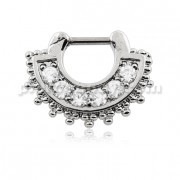 Tribal Dots with Sparkling Round Cubic Zirconia Septum Clicker Piercing