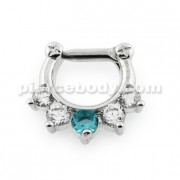 Five Pronged White and Aqua CZs Septum Clicker Ring