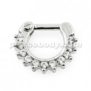 Single Line Pronged CZs Septum Clicker