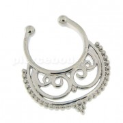 Tribal Pattern Non Piercing Fake Clip on Septum Ring