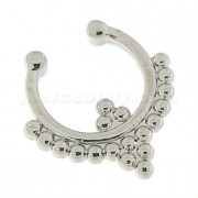 Paved Tribal Dots Non Piercing Fake Clip on Septum Ring