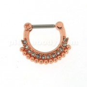 Rose Gold PVD Single Line Micro Paved CZ with Tribal Dots Septum Clicker