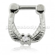 Leaf with Clear Round CZ Stone Septum Clicker Ring