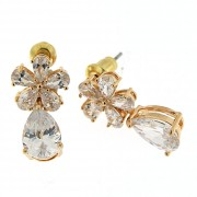 Fancy Jeweled Flower Ear Stud Earring