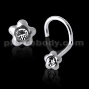 925 Silver Jeweled Flower Nose Screw