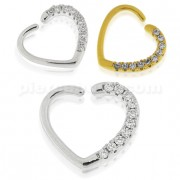 Jeweled Heart Cartilage Single Closure Ring