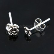 Oxidized 925 Sterling Silver Bali Flower Ear Stud