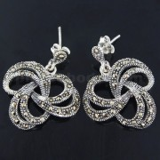 925 Sterling Silver Marcasite Love Links dangling Earring