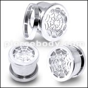 SS Spider Web Screw Fit Flesh Tunnel