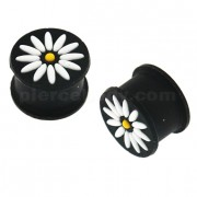 Embossed White Flower Black Silicone Ear Plug