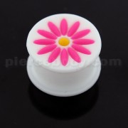 Embossed Pink Flower White Silicone Ear Plug