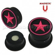 Embossed Fuchsia Star in Black Silicone Magnetic Ear Plug