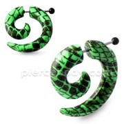 Black Patterns Spiral Fake UV Ear Taper