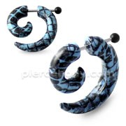 Turquoise and Black Pattern Invisible Fake Ear plug
