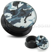 White Army Pattern UV Internal Screw Fit Ear Tunnel