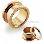 Rose Gold Plated External Screw Fit Ear Flesh Tunnel