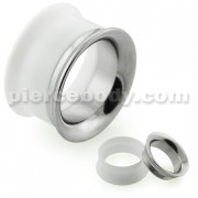 White UV Acrylic with Steel Internal Thread Flesh Tunnel