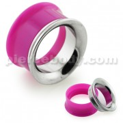 Purple UV Acrylic with Steel Internal Thread Flesh Tunnel