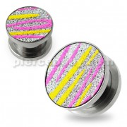 Pink and Yellow Stripes on Glitter Flesh Tunnels