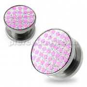 Pink Dots on White Glitter Ear tunnel gauges