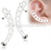 Hollow Stars Ear Cuff Wrap Cartilage Clip on Piercing Ear rings