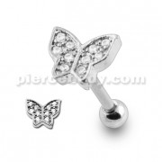 Micro Setting Jeweled Butterfly Tragus Piercing