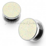 Glittering Rainbow Screw Fit Flesh Tunnel