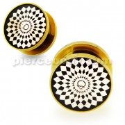 Gold PVD Platted Cut out Jeweled Screw Fit Flesh Tunnel