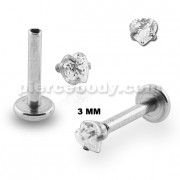 Surgical Steel Internal Threaded Madonna Labret with Heart Jeweled Top