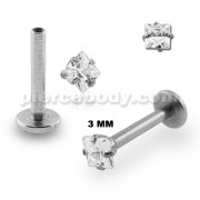 Surgical Steel Internal Threaded Madonna Labret with Square Jeweled Top