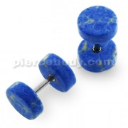 Organic Dark Blue Turquoise Stone Fake Ear Plug
