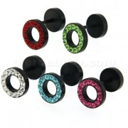 Multi Jeweled 10 mm Black PVD Flat Disc with Hole Invisible Ear Plug