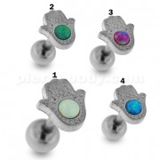 Hamsa or Fathima Hand with Opal Stone Tragus Piercing Ear Stud