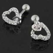 Micro Jeweled Heart in Heart Cartilage Tragus Piercing Ear Stud