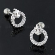 Micro Jeweled Round with Anchor Cartilage Tragus Piercing Ear Stud