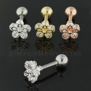 Jeweled 5 stone Flower Cartilage Helix Tragus Piercing Ear Stud
